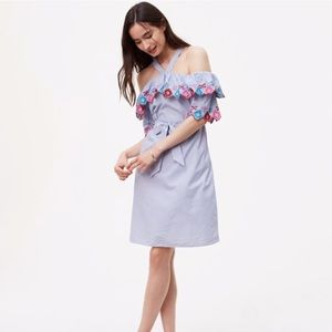 {LOFT} Embroidered Striped Dress